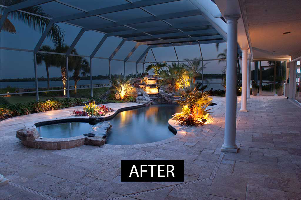 Lagoon Pool remodeled by changing shape of swimming pool from linear to naturally curving lagoons style and adding spa and waterfall and planters designed and built in Osprey, Florida by Lucas Lagoons Inc.