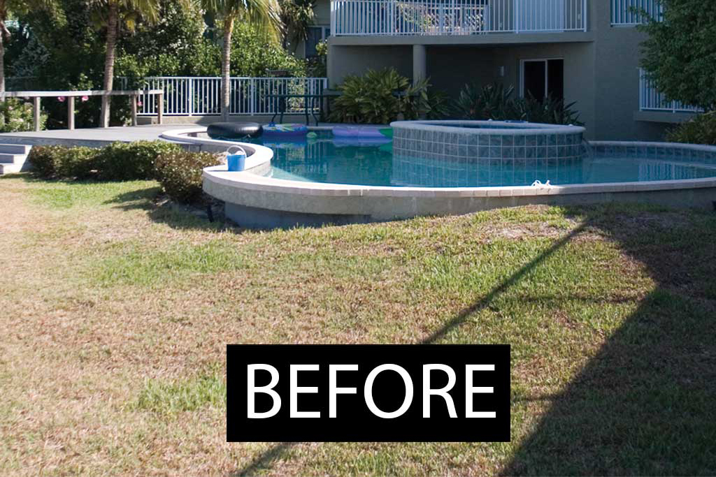 Lagoon Pool renovation with large stone grotto of Tennessee Fieldstone and slide designed and built in Osprey Florida by Lucas Lagoons Inc.